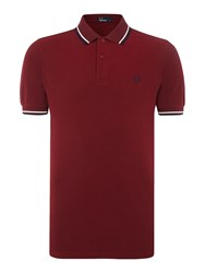 Fred Perry Men's Plain Twin Tipped Polo Shirt Maroon