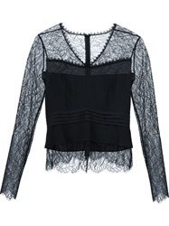 Yigal Azrouel Long Sleeves Lace Blouse Black
