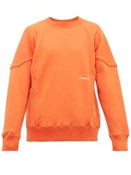 Ambush Logo Print Piped Cotton Sweatshirt Orange