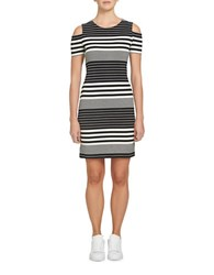 1.State Cold Shoulder Stripe Dress Black