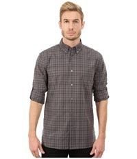 John Varvatos Roll Up Sleeve Shirt W Button Down Collar W387r3l Licorice Men's Long Sleeve Button Up Multi