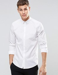Asos Smart Shirt In White With Button Down Collar And Long Sleeves White