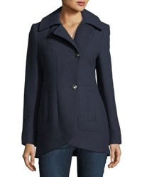 French Connection Back Belted Wool Blend Pea Coat Navy