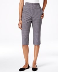 Alfred Dunner Petite Gingham Print Pull On Capri Pants Multi