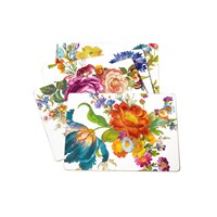 Mackenzie Childs Flower Market Cork Back Placemats Set Of 4 White