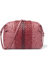 Bottega Veneta Nodini Small Embroidered Intrecciato Leather Shoulder Bag Pink