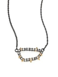 Alexis Bittar Elements Punk Crystal Spiked Link Pendant Necklace Gunmetal Tone Silver Gold