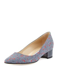 Manolo Blahnik Listony Flower Print 30Mm Pump Denim Blue