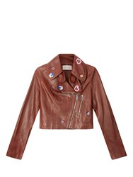 Christopher Kane Embroidered Cropped Leather Jacket Brown