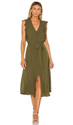 1.State 1. State Button Front Crosshatch Midi Dress In Olive. Lush Grass