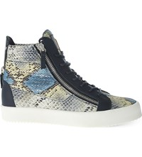 Giuseppe Zanotti Snake Print Hi Top Leather Trainers Blue Pal.C