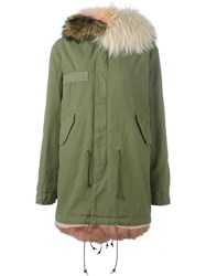 Mr And Mrs Italy Contrast Hood Parka Coat Green