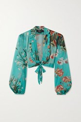 Patbo Carolina Cropped Tie Front Floral Print Chiffon Top Turquoise