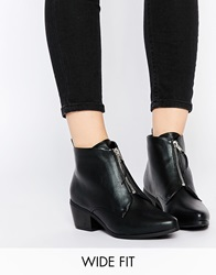 New Look Wide Fit Zip Ankle Boots Black