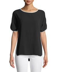 Neiman Marcus Short Sleeve Blouse W Tipping Black