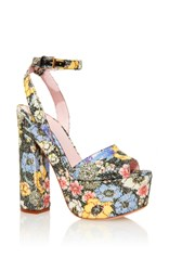 Giamba Sequined Floral Platform Sandals