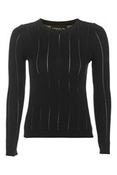 Topshop Tall Long Sleeve Pointelle Knitted Crop Black