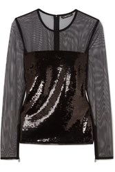 Tom Ford Sequined Tulle Top Black