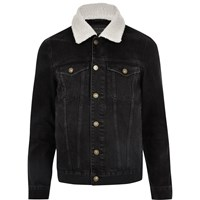 River Island Mensbig And Tall Black Borg Collar Denim Jacket