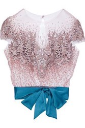 Reem Acra Convertible Satin Trimmed Embellished Tulle Top Blush