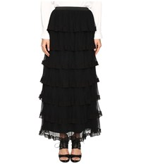 Red Valentino Silk Georgette With Tulle Skirt Nero Women's Skirt Black