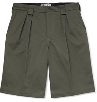 Jacquemus Wide Leg Pleated Cotton Twill Shorts Green