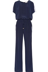 Tory Burch Striped Silk Crepe De Chine Jumpsuit Navy