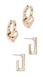 Baublebar Heart And Rectangle Huggie Set Gold