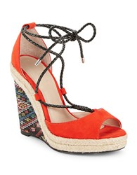 Charles By Charles David Boston Ankle Tie Wedge Sandals Fire