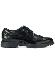 Hogan Punch Hole Detailed Derby Shoes Black