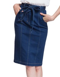 Plenty By Tracy Reese Cotton Blend Belted Pencil Skirt Indigo