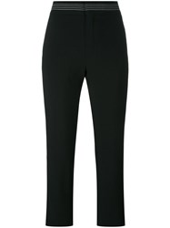 Chloe Contrast Stitch Cropped Trousers Black