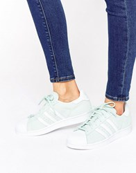 Adidas Originals Mint Suede Superstar Trainers Ice Mint Green