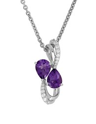 Lord And Taylor Amethyst White Topaz Sterling Silver Pendant Necklace