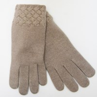 Portolano Basket Weave Cashmere Gloves Nile Brown