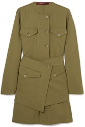 Sies Marjan Ava Layered Wool Canvas Jacket Army Green