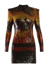 Balmain Palm Tree Sequinned Mini Dress Multi