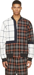 3.1 Phillip Lim Orange And Black Quilted Plaid Patchwork Bomber Jacket