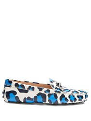 Tod's Gommini Leopard Print T Bar Leather Loafers Blue White