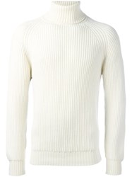 Lc23 Cable Knit Turtleneck Jumper White