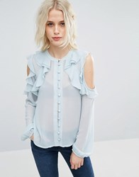 Asos Collarless Ruffle Cold Shoulder Blouse Blue