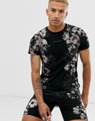 Religion Co Ord T Shirt With Floral Side Print In Black