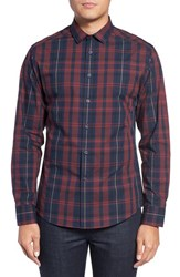 Vince Camuto Men's Trim Fit Print Sport Shirt Burgundy Navy Exploded Plaid