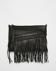 Mango Festival Cross Body Leather Fringe Bag Black