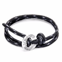 Anchor And Crew Black Lerwick Silver Rope Bracelet