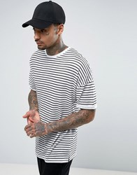 Asos Linen Look Longline Stripe T Shirt With Roll Sleeve White