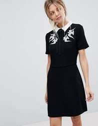 Oasis Bird Embroidered Collar Skater Dress Black