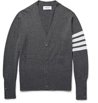 Thom Browne Slim Fit Striped Cashmere Cardigan Gray