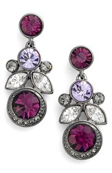 Women's Givenchy Cluster Crystal Drop Earrings Hematite Amethyst Mix