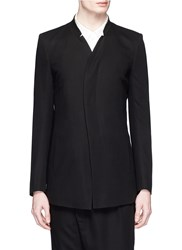 The Viridi Anne Stand Collar Cotton Blazer Black